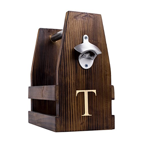 Cathy's Concepts Personalized Rustic Craft Beer Carrier with Bottle Opener, Letter T