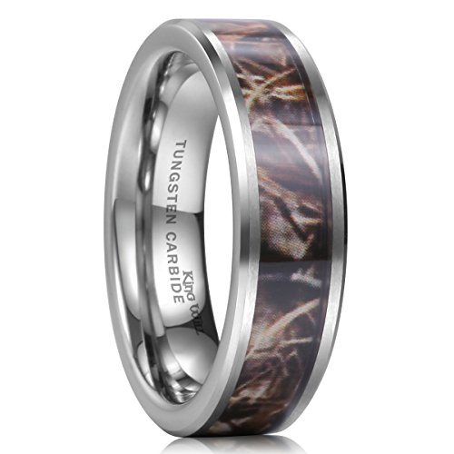 King Will 8mm Camouflage Hunting Mens Tungsten Ring Camo Polished Wedding Band Trees Leaves(10) (Camouflage Rings For Men compare prices)
