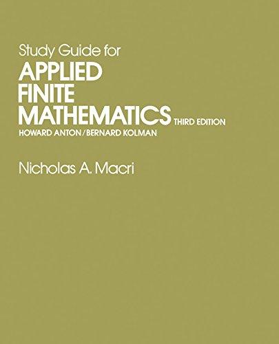 Study Guide for Applied Finite Mathematics: Study Gde.to 3r.e