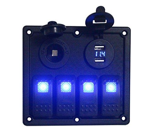 BANDC 12v/24v 4 Gang Rocker Switch Panel Blue Led with Power outlet socket & USB Charger Socket/VOLTMETER (12v Rocker Switch Panel compare prices)