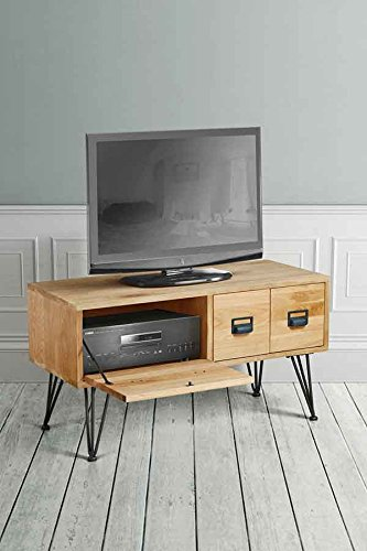 MY-Furniture – Mueble de TV industrial de roble macizo y acero – Gama FELIX