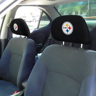 nfl pittsburgh steelers pair car seat head rest covers at steelermania. Black Bedroom Furniture Sets. Home Design Ideas