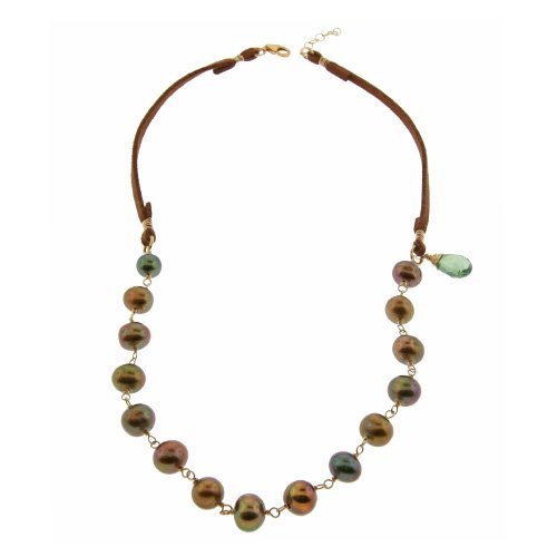 Leather & Bronze Pearl Necklace
