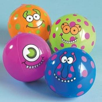 "12 Inflatable Mini approx. 4.5"" Monster Beach Balls, Assorted"