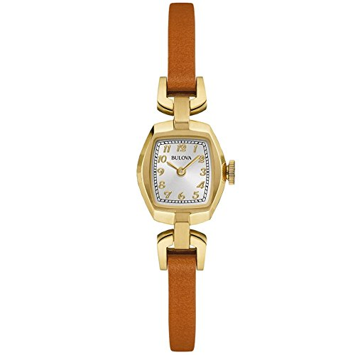 Bulova Classic Heritage Dress Women's Quartz Watch with Silver Dial Analogue Display and Brown Stainless Steel Gold Plated Strap 97L153