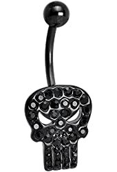 Black Stainless Steel Licensed The Punisher Belly Ring