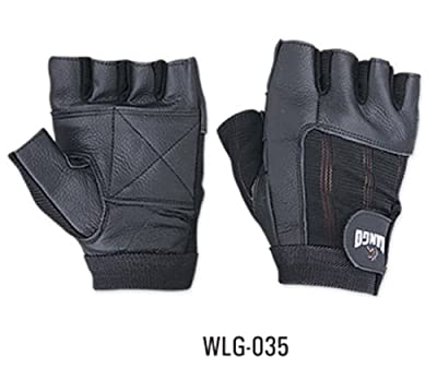 Weight Lifting Padded Leather Gloves - W035 - Fitness Training Body Building Gym Sports & Wheel Chair Use Size from KANGO FITNESS