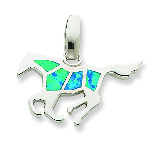 Sterling Silver Created Blue Opal Inlay Horse Pendant