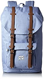 Herschel Supply Co. Little America Backpack, 1-Piece, Chambray Crosshatch/Tan Synthetic Leather, One Size