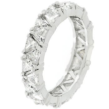 White Gold Rhodium Bonded Eternity Band Featuring Pave Trillion Cut Clear Cz Jewelry (8)