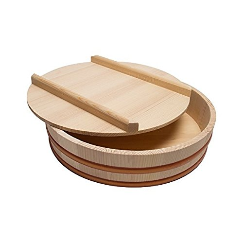 Hangiri wooden sushi rice bowl with lid (36cm(14.2