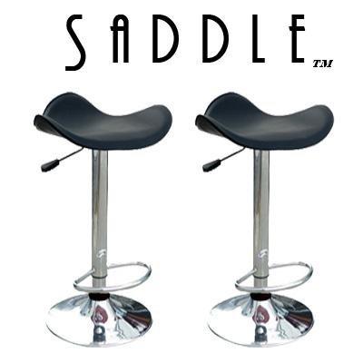 Saddle Modern Adjustable Swivel Bar Stools (Set Of 2) - Black front-946851