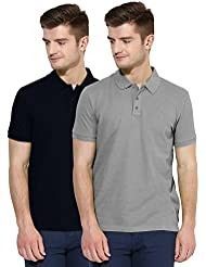 Polo Nation Men Solid Cotton Polo T-Shirt Pack Of 2