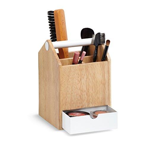 Umbra 290239-668 Toto Aufbewahrungskasten, Schmuckbox mit beweglicher Metallablage, Holz / Metall, weiß / natur
