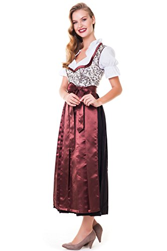 Alpenmärchen 3tlg. Dirndl-Set lang - Trachtenkleid, Bluse, Schürze, Gr. 34-60, braun - ALM746 thumbnail