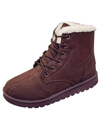 Minetom Donna Lace Up Pelliccia Neve Stivali Autunno Inverno Calzature Female Sneaker Moda Marrone EU 36