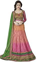 Navyata Women's Jaquarad Silk Semi-Stitched Lehenga Choli (1907B_Pink_Free Size)