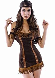 Party Corsets UK Damen Kostüm Pocahontas, Indianer-Prinzessin, Gr. 36 / 38
