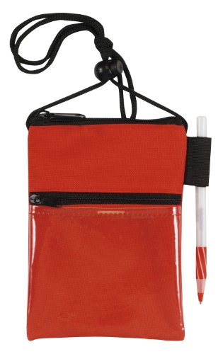 Bags for Less Travel Neck Wallet Passport Badge Holder, Red