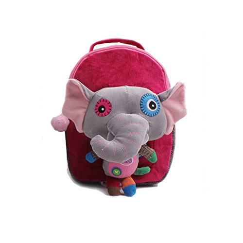 """Modovo Animal Cartoon Style Kid Backpack Rose Elephant 11""""X 8""""X 4"""" With 40' Safety Harness front-207946"""