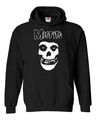 """Felpa Unisex """"Misfits"""" - Felpa con cappuccio rock metal LaMAGLIERIA, S, Nero"""