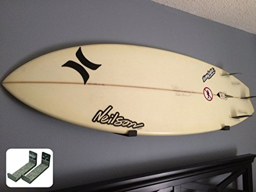 Naked Surf | Minimalist Surfboard Wall Rack | Black Display