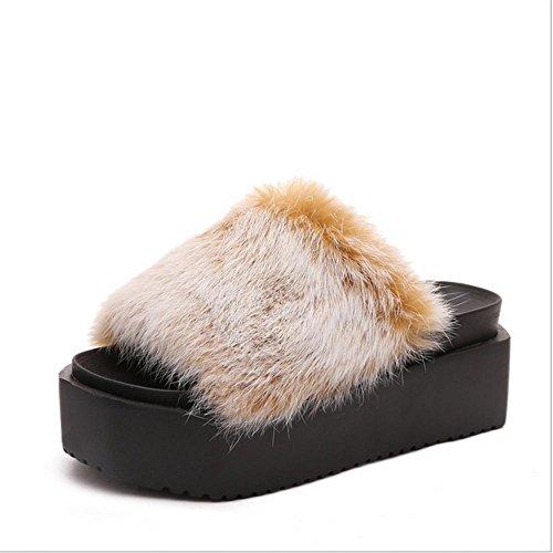 JIAJIA Tempo libero-coniglio torta pesante di fondo Mao Maonv pantofole pantofole casa scarpe antiscivolo caldo in autunno e inverno 35 36 37 38 39 40 41 42 43 44 45 46 47 2 3 4 5 6 7 8 9 10 , snowflake yellow , 39