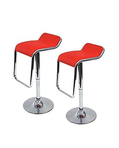 Manhattan Living Set of 2 Flat Bar Stool Chairs, Red