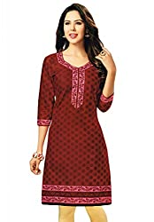 Salwar Studio Women's Red & Pink Cotton Floral Printed Kurti Fabric