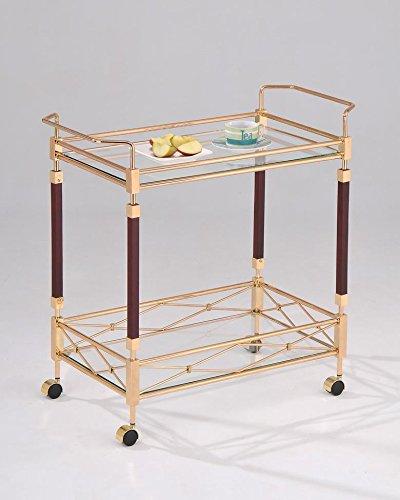 Schwartinsky 20488 Servierwagen – Beistellwagen – Gastro – 2 Böden aus Temperglas, Glas, Gold-Braun, 81,3 x 40,6 x 76,8 cm