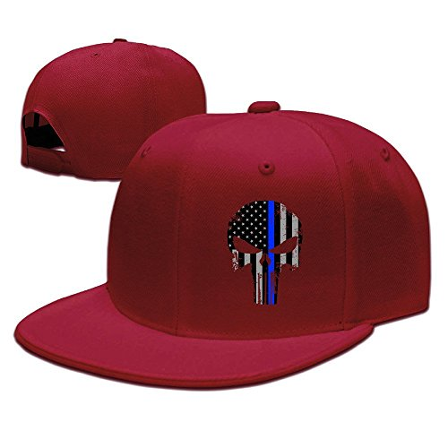 MaNeg Thin Blue Line Punisher Unisex Fashion Cool Adjustable Snapback Baseball Cap Hat One Size Red (Pictures Of Cool Thin compare prices)