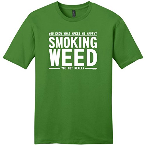 You Know What Makes Me Happy - Smoking Weed Not You Young Mens T-Shirt Small Kiwi Green