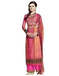 Orange & Pink Colour Cotton Semi Party Wear Digital Kashmiri Inspired Print Plazo Suit (Kimora) 5208