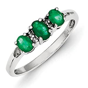 IceCarats Designer Jewelry Size 8 Sterling Silver Rhodium 3 Emerald Diamond Heart Ring