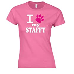 iClobber I love my Staffy Women's fitted T shirt tshirt staffordshire bull terrier