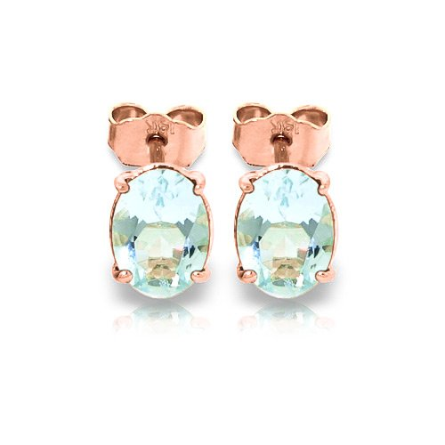 QP Jewellers Natural Aquamarine Stud Earrings in 9ct Rose Gold, 1.80ct Oval Cut - 1939R