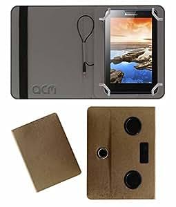 Acm Portable Rotating Music Speaker & Cover For Lenovo A7-30 (A3300-Hv) Tablet Flip Case Stand Golden