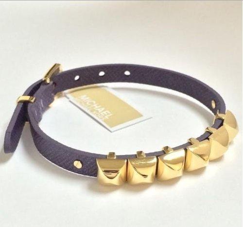 Michael Kors Mkj3096 Women'S Pyramid Stud Bracelet, Purple / Gold