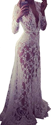 Women Sexy Deep V Neck Long Sleeve Lace See-through Beach Mullet Dress Maxi Gown
