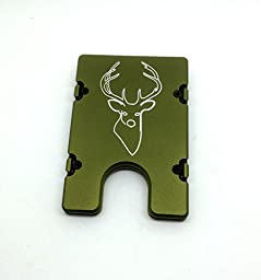 Aluminum Wallet with RFID Protection Buck Deer Hunter (green)