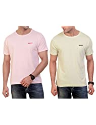 Wineberry Crew Neck Solid T-Shirt For Men- Pack Of 2 (Fabric: Cotton, Colour: English Green, Barley Pink)