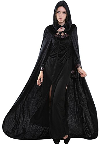 Womens Black Velvet Hooded Cloak Costumes Halloween Wizard Hooded Party Cape