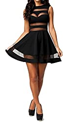 made2envy Mesh See Through Sheer Block Skater Sleeveless Mini Dress