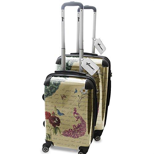 Vintage Pavone e Farfalle, Set da 2 Luggage Valigia Bagaglio Ultraleggero Trasportabile Rigido 4 Route Adatto con Disegno Colorato. Dimensione: Formato Cabina S, L