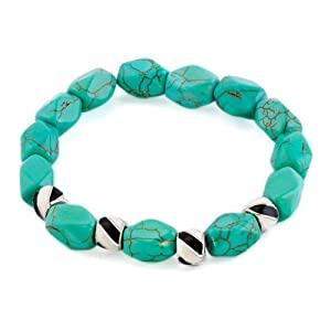 Pugster Bling Jewelry Metal Beads Fashion Green Turquoise Nugget Bracelet