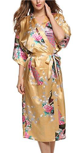 Avidlove Women's Robes Peacock and Blossoms Kimono Silk Nightwear Long Style (M = US S, Style1--Yellow (FBA))