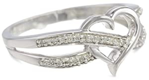 14k White Gold Diamond Heart Ring (1/10 cttw, H-I Color, I2 Clarity), Size 8