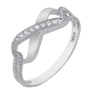 Authentic Diamond Color Cubic Zirconia .925 Sterling Silver Infinity Symbol Ring Special Limited Time Offer Super Sale Price, Comes with a Free Gift Pouch and Gift Box (4)