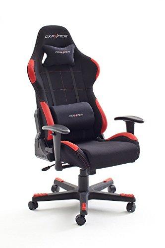 DX-Racer1-Brostuhl-Gaming-Stuhl-Schreibtischstuhl-Chefsessel-mit-Armlehnen-Gaming-chair-Gestell-Nylon-78-x-124-134-x-52-cm-Stoffbezug-schwarz-rot