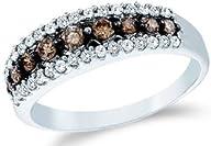 0.5 cttw 10k White Gold Cognac Diamond Chocolate Brown and White Diamond Anniversary Wedding Band…